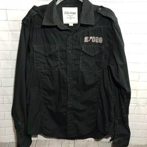 Men's black long sleeve button down  shirt L